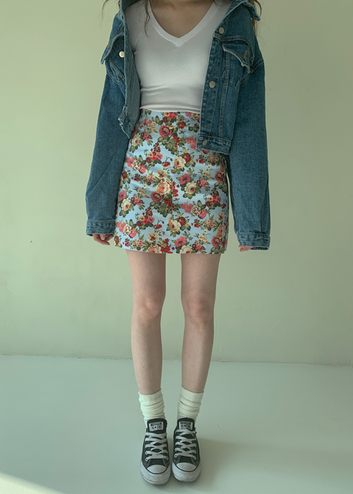 90'S FLOWER SKIRT(IVORY, SKY BLUE 2COLORS!)