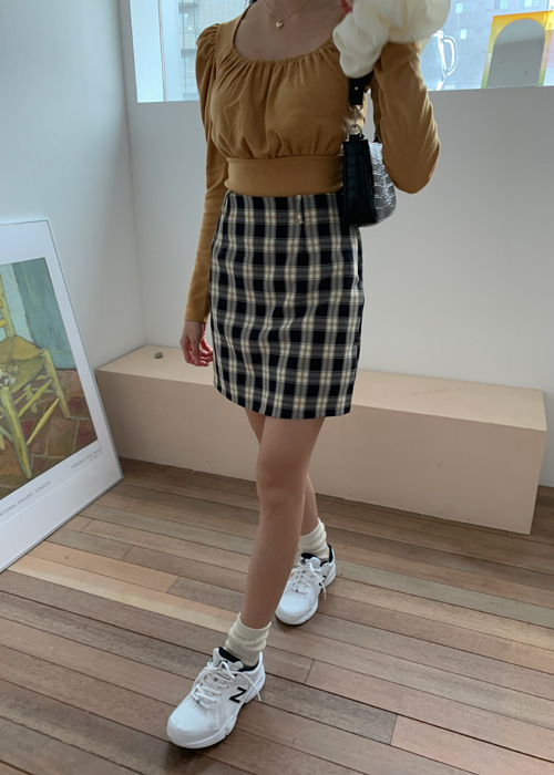 90'S CHECK MINI SKIRT(BEIGE, MINT, BLACK 3COLORS!)