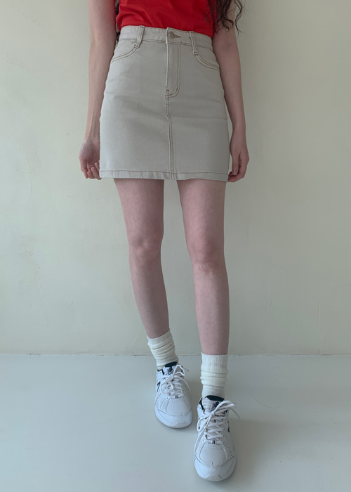 LIGHT STITCH DENIM SKIRT(LIGHT BEIGE, GREY BEIGE, BLACK 3COLORS!)