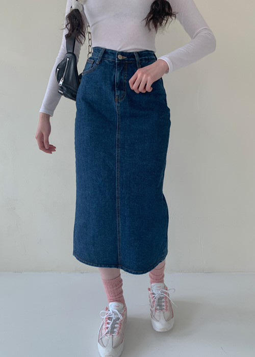 DENIM SLIM LONG SKIRT(BLUE WASH, GREY WASH 2COLORS!)