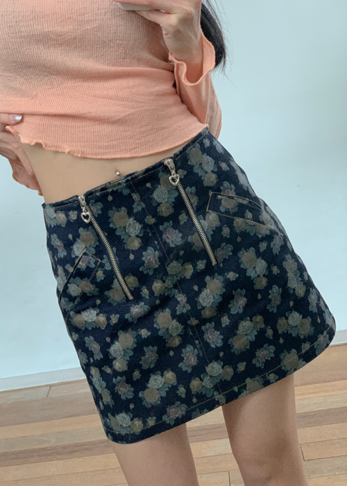 HEART ZIP-UP ROSE DENIM SKIRT(BEIGE, BLUE 2COLORS!)