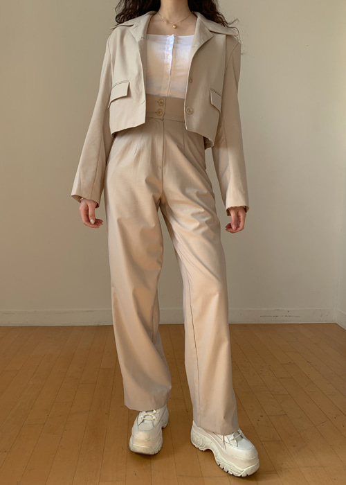 CROP JACKET POCKET STRAIGHT PANTS SET(BEIGE, MOCHA, BLACK 3COLORS!)