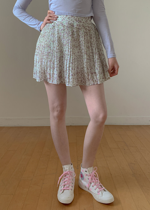 FLORET PLEATS MINI SKIRT(IVORY, NAVY 2COLORS!)
