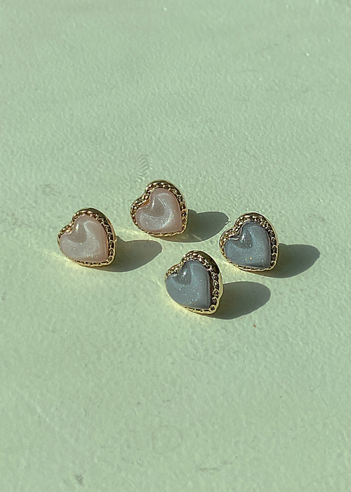 BRILLIANT PEARL HEART EARRING(IVORY, PINK, DARK BLUE 3COLORS!)