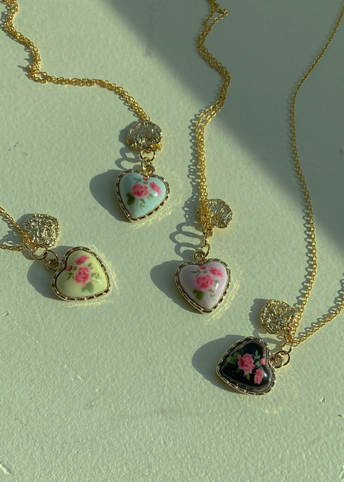 ROSE FRAME HEART NECKLACE(YELLOW, PINK, SKY BLUE, BLACK 4COLORS!)