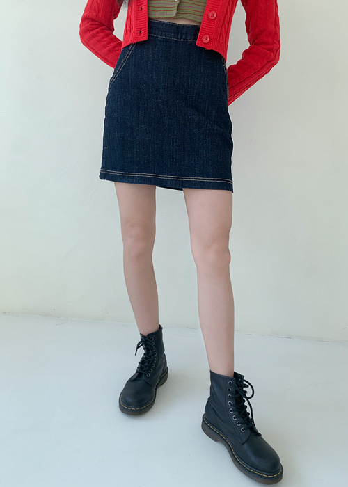 SEMI A-LINE STITCH DENIM SKIRT