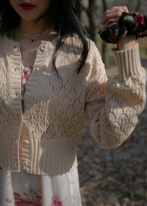 DIAMOND PUNCHING KNIT CARDIGAN(IVORY, BEIGE, PINK, VIOLET 4COLORS!)