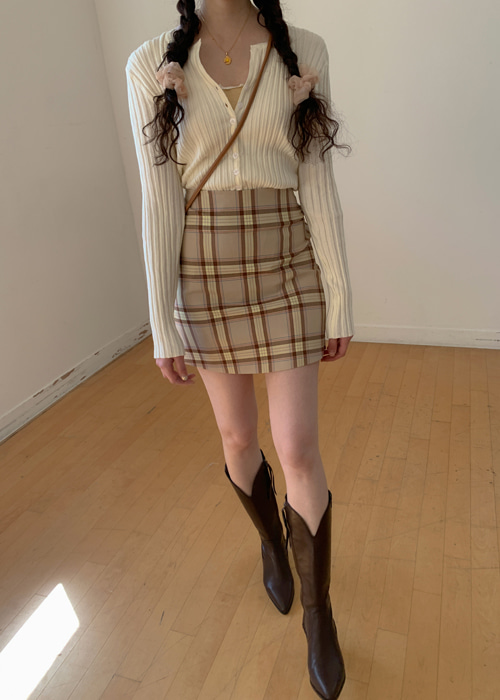 H-LINE CHECK SKIRT(BEIGE, NAVY 2COLORS!)