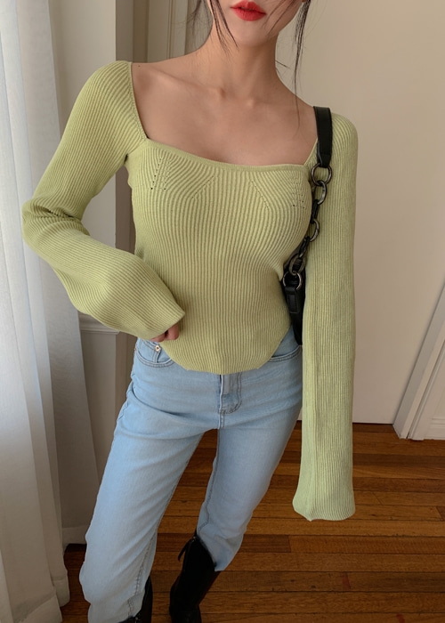 SQUARE SLIM KNIT TOP(IVORY, LIGHT GREEN, BLACK 3COLORS!)