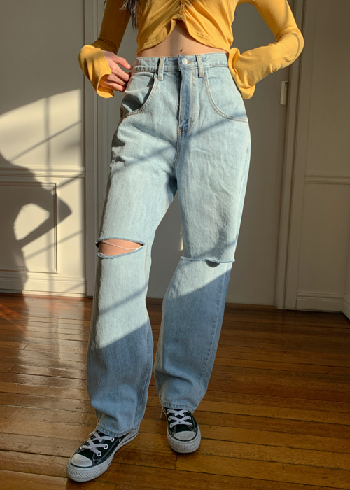 DAMAGE WIDE DENIM PANTS