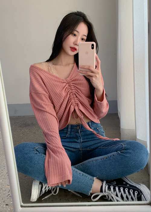 SHIRRING STRING CROP T(IVORY, OAT, PINK, RED, SKY BLUE, VIOLET, BLACK 7COLORS!)