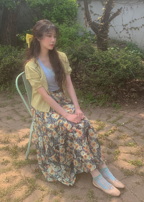 VERONICA FLOWER BANDING LONG SKIRT(YELLOW, PINK 2COLORS!)
