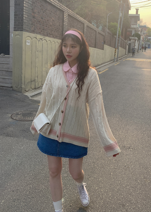 HIGH TEEN LINE CARDIGAN(CREAM, BEIGE, MINT, NAVY 4COLORS!)