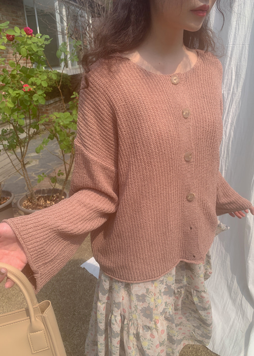 CHAMOMILE LOOSE FIT CARDIGAN(WHITE, PINK, KHAKI, SKY BLUE, BLACK 5COLORS!)