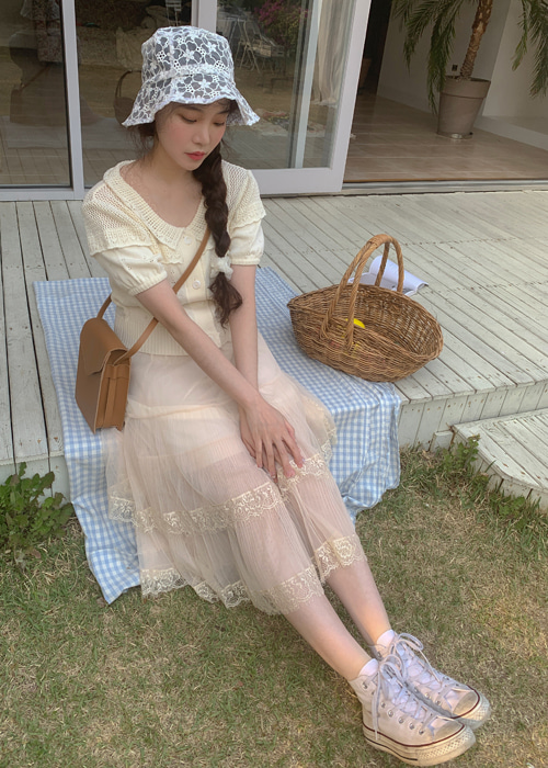 SEE-THROUGH LACE BANDING LONG SKIRT(BEIGE, BLACK 2COLORS!)