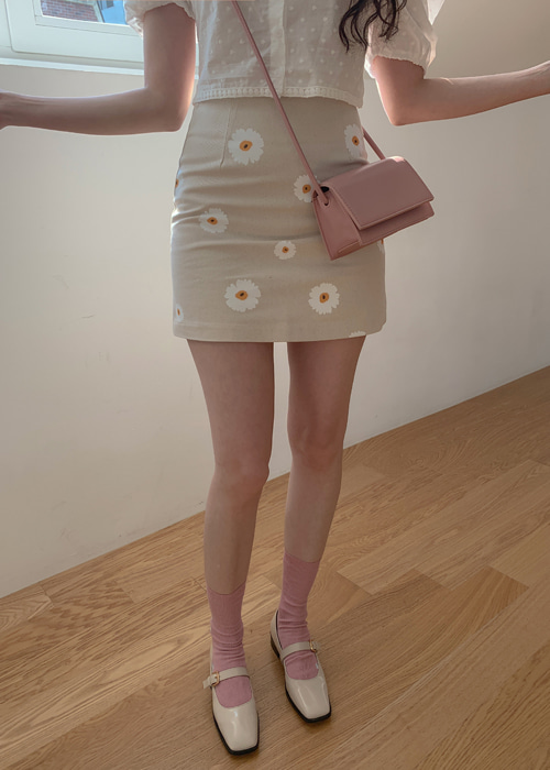 DAISY A-LINE MINI SKIRT(BEIGE, BLUE 2COLORS!)