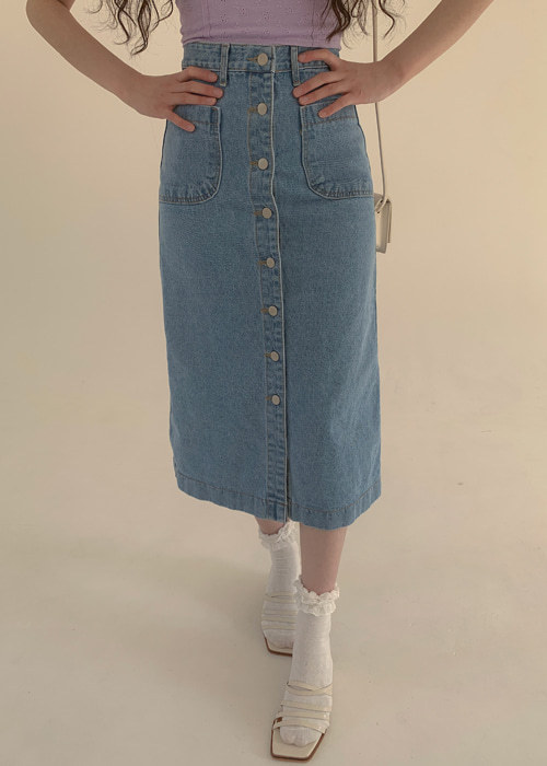 BUTTON LONG DENIM SKIRT