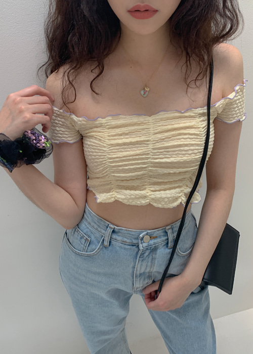 LINDA WAVE FRILL CROP T(IVORY, YELLOW, BLACK 3COLORS!)