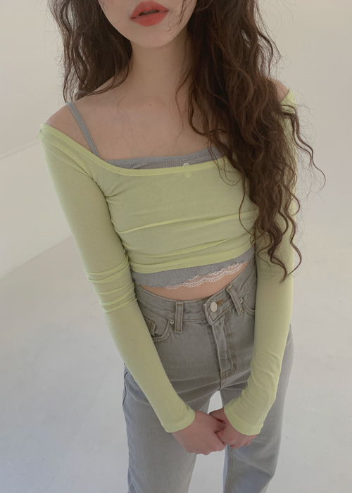 U-NECK CROP T(WHITE, SKY BLUE, LIGHT GREEN, BROWN, BLACK 5COLOR!)