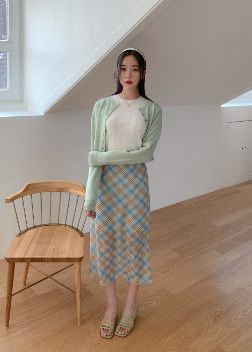 CINDY CHECK LONG SKIRT(YELLOW, SKY BLUE 2COLORS!)