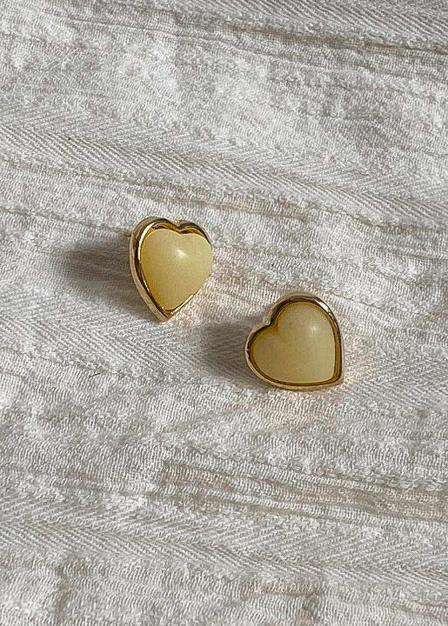 JANE HEART EARRING(YELLOW, PINK, RED, BLUE 4COLORS!)