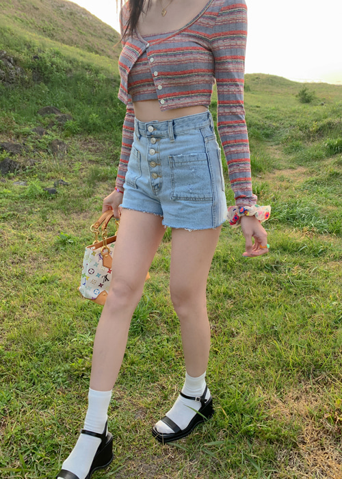 NATURAL POCKET DENIM SHORT PANTS