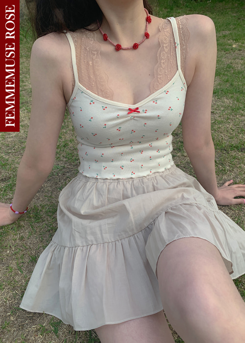 ❀FEMMEMUSE ROSE❀ PETIT CHERRY RIBBON CROP SLEEVELESS TOP(PINK, RED 2COLORS!)