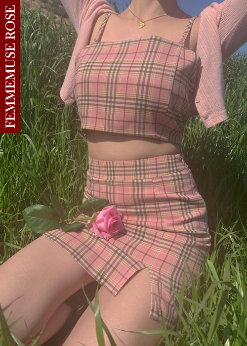 ❀FEMMEMUSE ROSE❀ BARBIE CHECK TOP SKIRT SET(PINK, SKY BLUE 2COLORS!)(*개별구매가능!*)