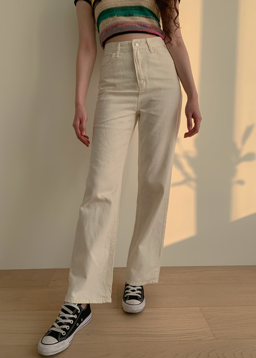 CREAMY STRAIGHT COTTON PANTS