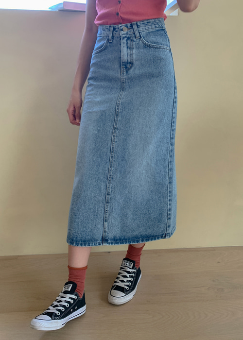 VINTAGE WASHED LONG DENIM SKIRT