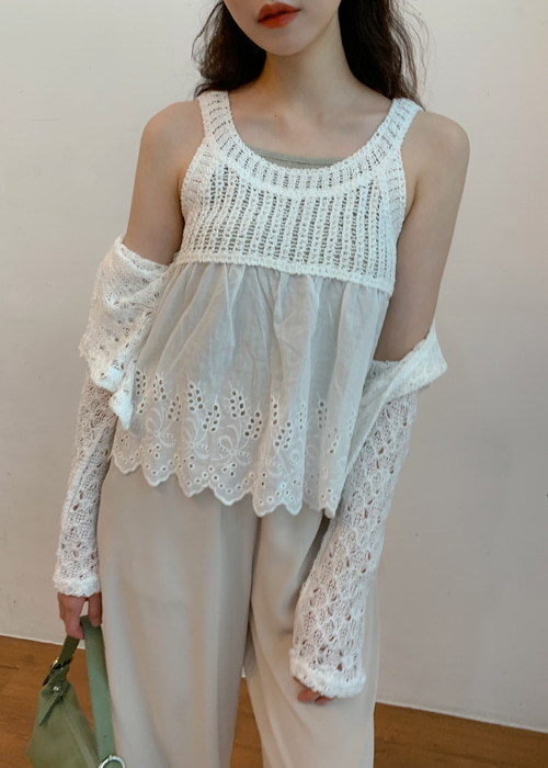 VINTAGE EMBROIDERY KNIT SLEEVELESS TOP(IVORY, BEIGE 2COLORS!)