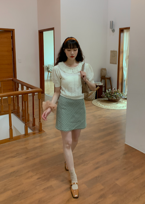 ANN CHECK MINI SKIRT(BEIGE, GREEN, NAVY 3COLORS!)