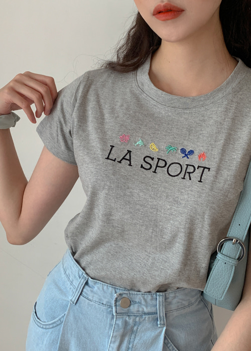 90'S EMBROIDERY LA SPORTS T(WHITE, PINK, GREY, BLACK 4COLORS!)