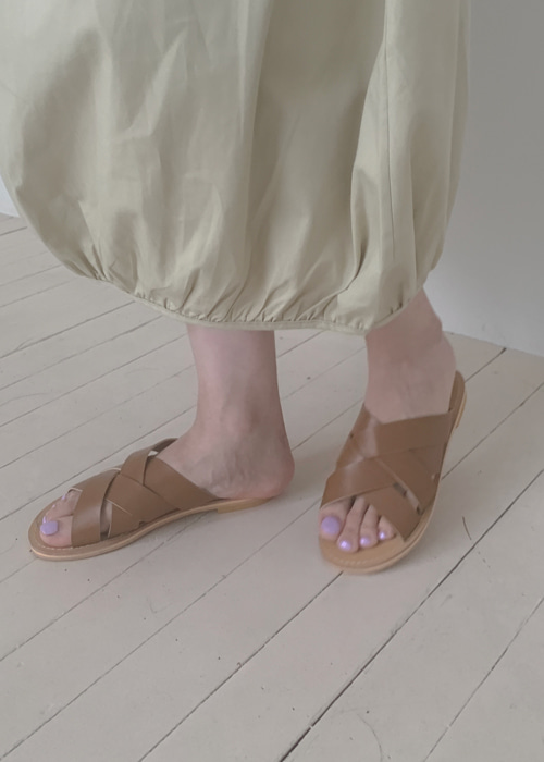 WIDE STRAP FLAT SANDAL(IVORY, BEIGE, BROWN, BLACK 4COLORS!)