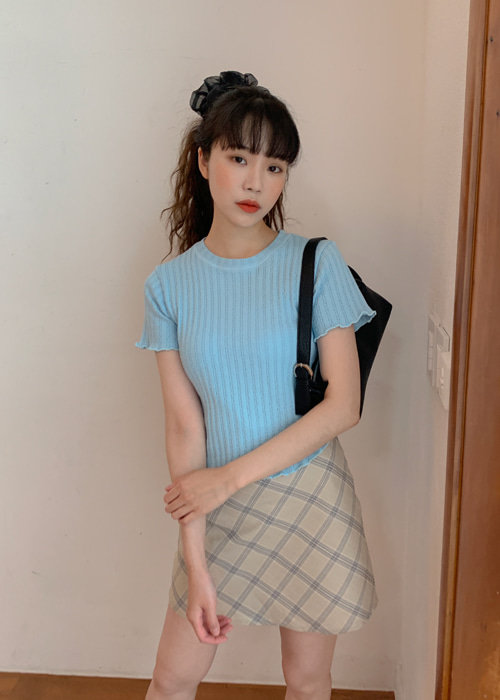 JACQUARD FRILL TEE(BROWN, LIGHT GREEN, SKYBLUE 3COLORS!)