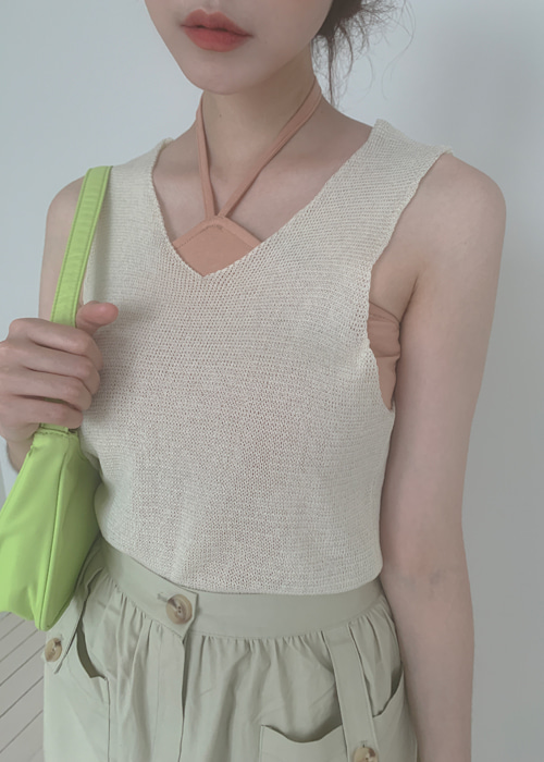 V-NECK KNIT VEST(IVORY, BEIGE, YELLOW, PINK, MINT, SKYBLUE, CHARCOAL 7COLORS!)