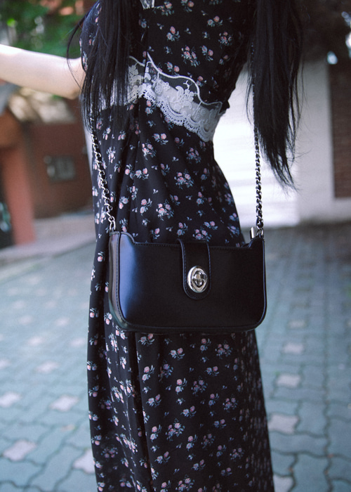 LEATHER CHAIN BAG(IVORY, BLACK 2COLORS!)