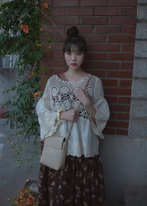ETHNIC EMBROIDERY LACE TOP BLOUSE(IVORY, BEIGE 2COLORS!)