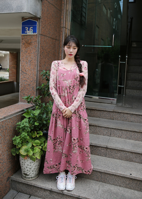 FLORAL SLEEVELESS LONG DRESS(PINK)
