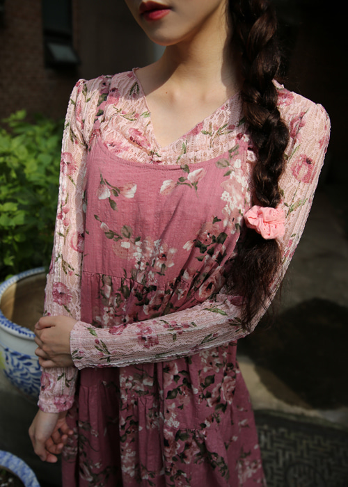 ROSY LACE SHIRRING T(IVORY, PINK 2COLORS!)