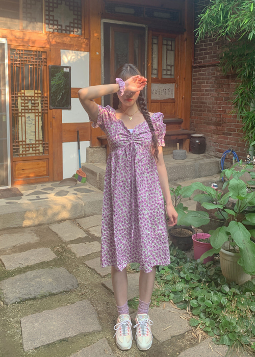 SODA FLORAL SHIRRING PUFF DRESS(YELLOW, PURPLE 2COLORS!)