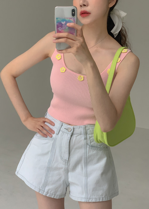 FLOWER EMBROIDERY SLEEVELESS TOP(PINK, ORANGE, GREEN, BLACK 4COLORS!)