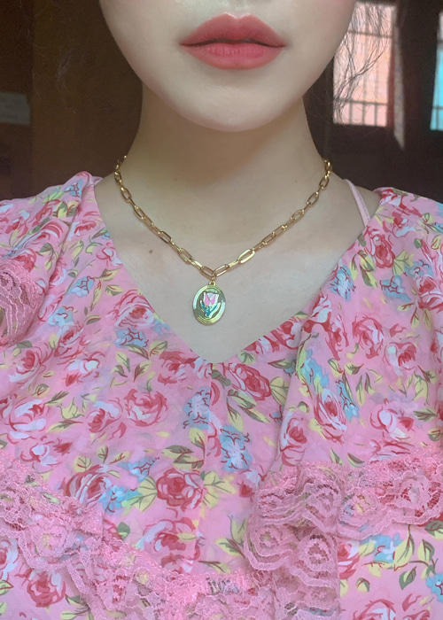 ILLUSTRATED PENDANT NECKLACE(CLOVER, DAISY, TULIP 3TYPE!)