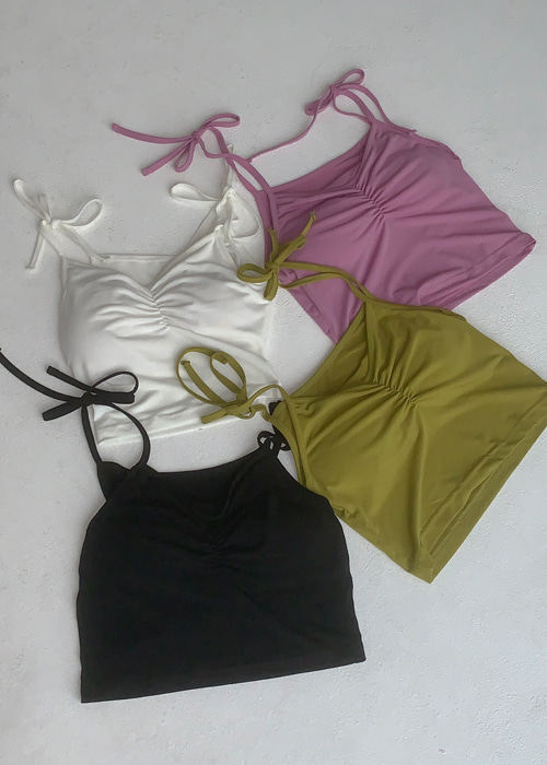 SHIRRING RIBBON SLEEVELESS TOP(IVORY, PINK, GREEN, BLACK 4COLORS!)