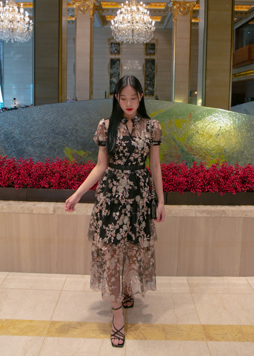 ROYAL BIJOU FLORAL MESH CANCAN DRESS