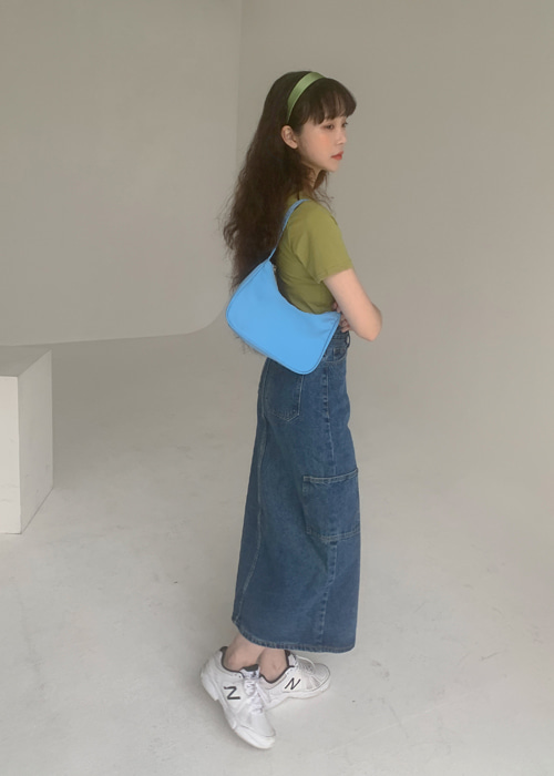 CARGO POCKET DENIM SKIRT(BLUE WASH, BLACK WASH 2COLORS!)