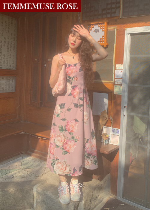 ❀FEMMEMUSE ROSE❀ LYDIA ROSE FLORAL FLARE SLIP LONG DRESS(PINK)