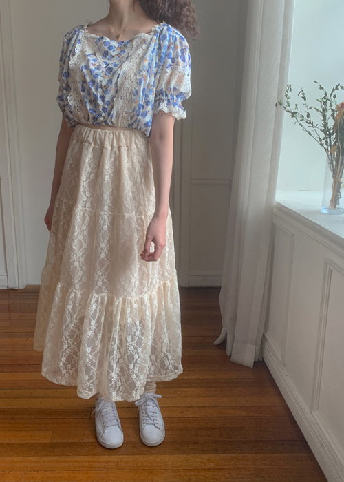 FLOWER LACE SHIRRING CANCAN SKIRT(WHITE, BEIGE, BLACK 3COLORS!)