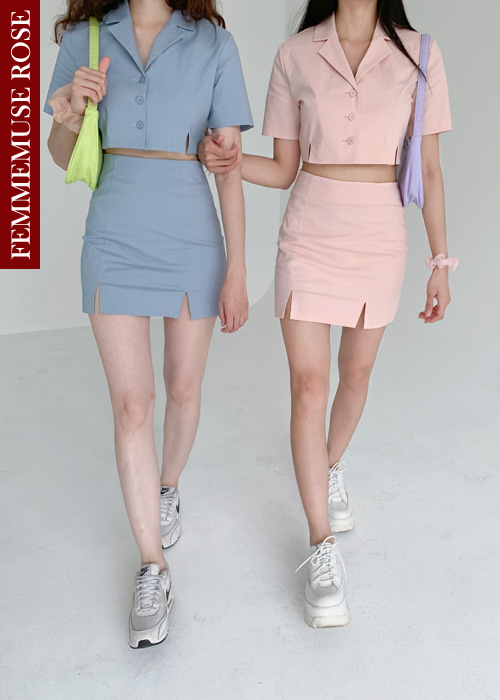 ❀FEMMEMUSE ROSE❀ 90'S KATE JACKET SKIRT SET UP(WHITE, LIGHT PINK, SKYBLUE 3COLORS!)