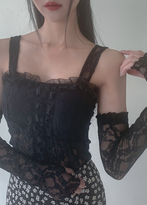 LACE BUSTIER TOP(WHITE, BLACK 2COLORS!)